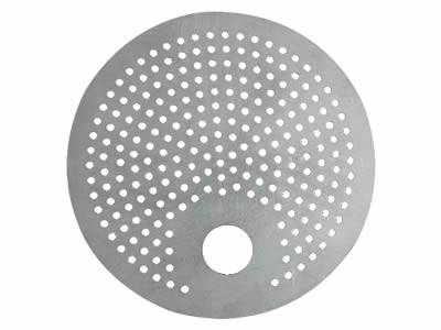 Perforated filter disc has a big hole which differs from other unified micro holes and round margin.